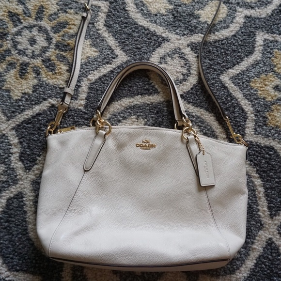 Coach Handbags - Coach Small Kelsey Chalk White Leather Satchel